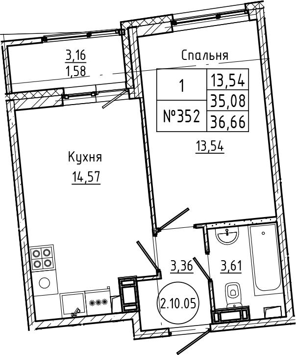 1-комнатная, 36.66 м²– 2