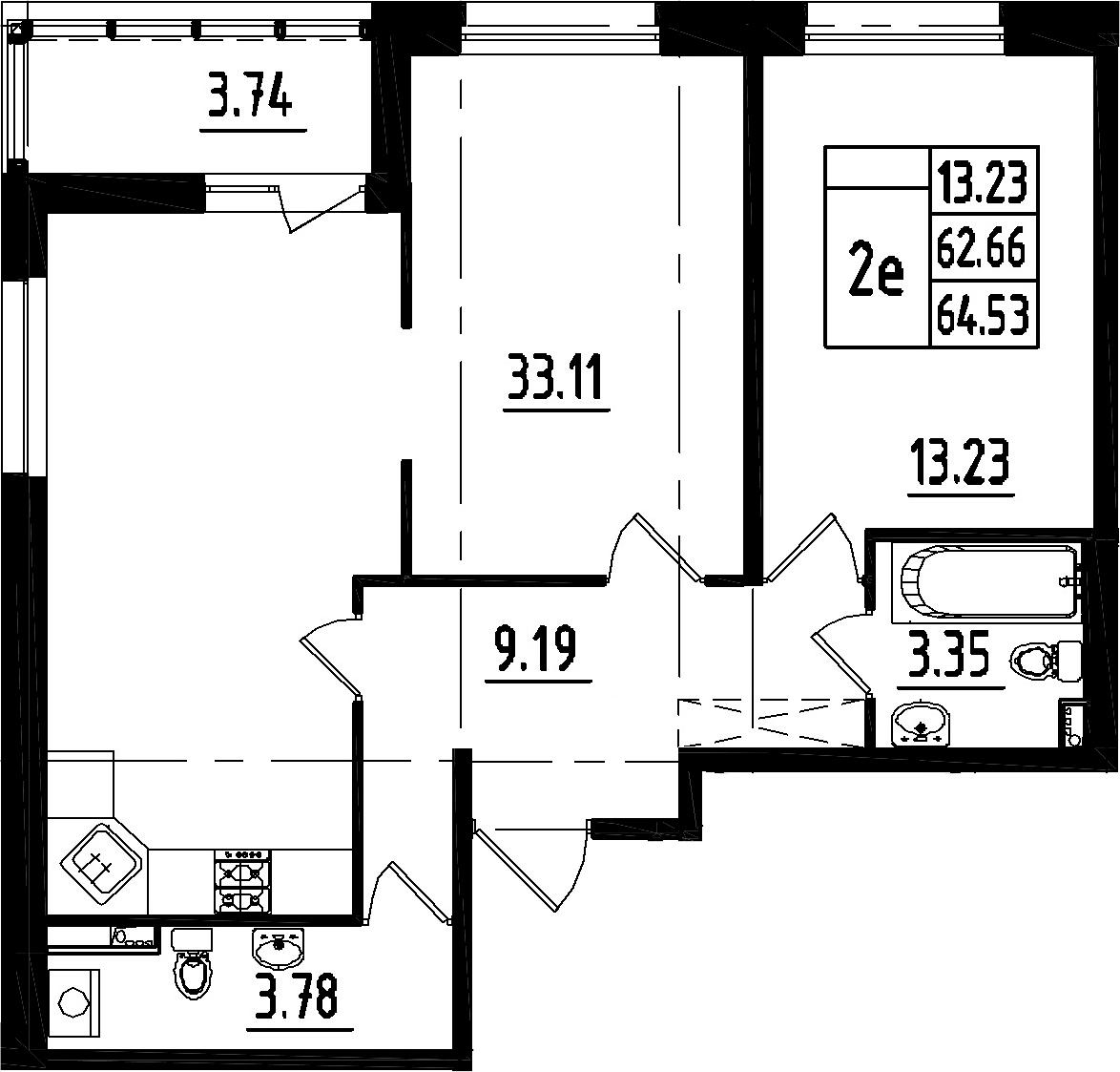 2-к.кв (евро), 66.4 м²