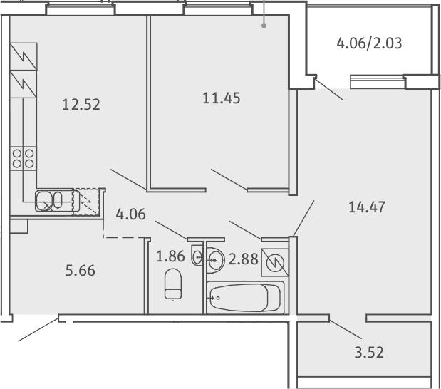 2-комнатная, 58.45 м²– 2
