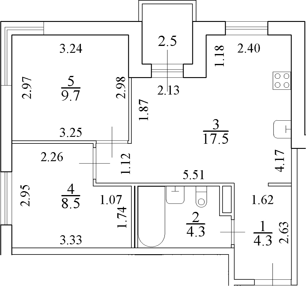 3Е-к.кв, 45.6 м²