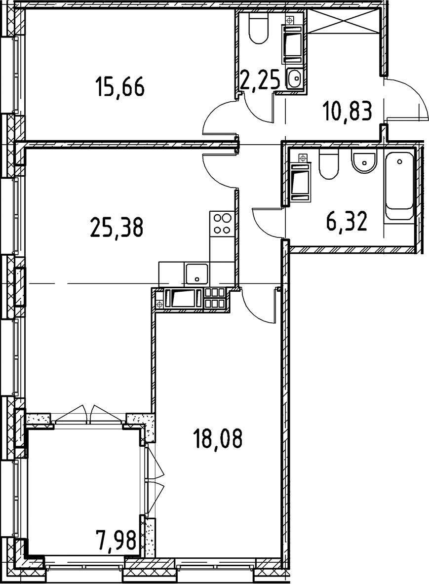 3Е-к.кв, 78.52 м², 6 этаж