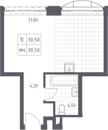 Студия, 30.5 м², 14 этаж – Планировка