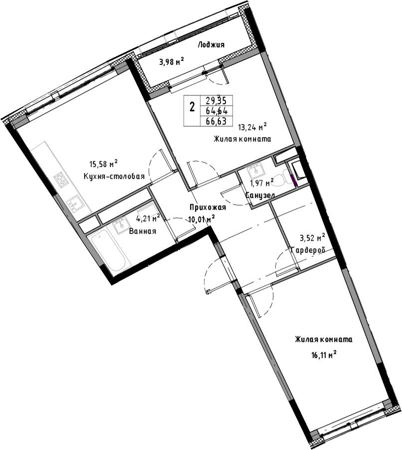 3-к.кв (евро), 68.62 м²