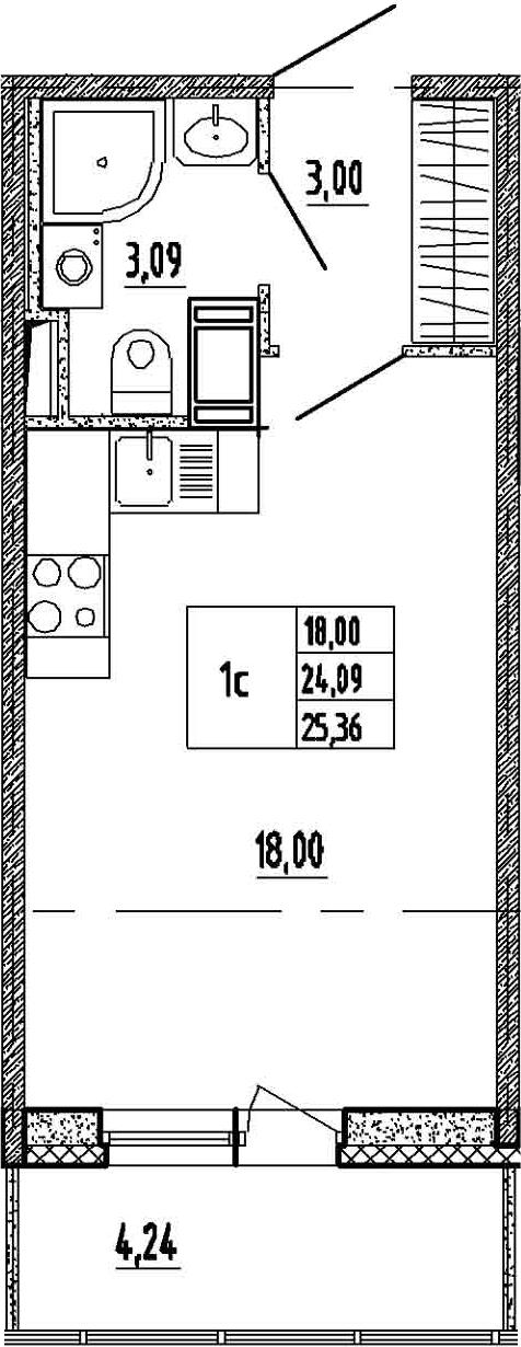 Студия, 24.09 м²