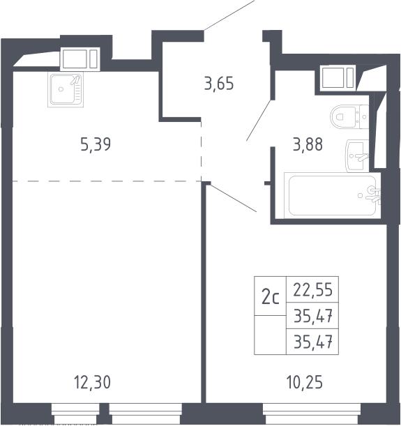 2Е-комнатная, 35.47 м²– 2