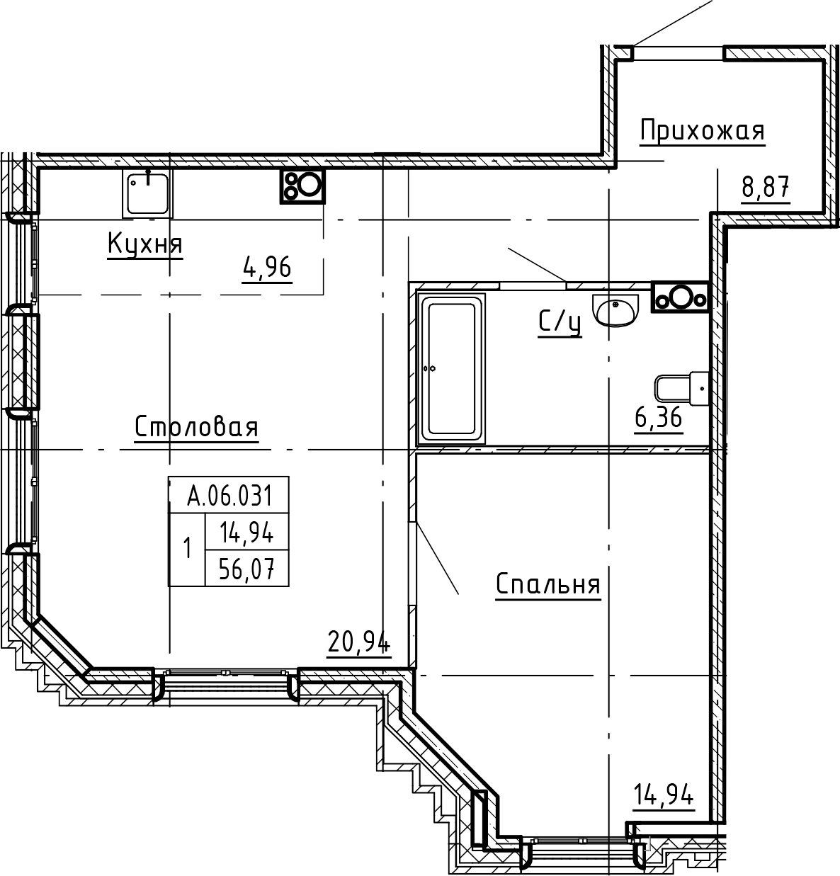 2Е-комнатная, 56.07 м²– 2