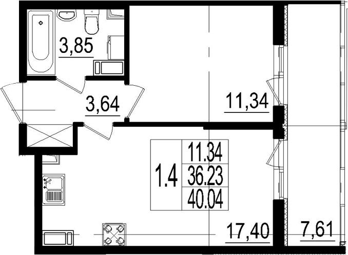 2Е-комнатная, 40.04 м²– 2