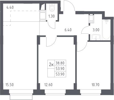 3Е-к.кв, 53.9 м²