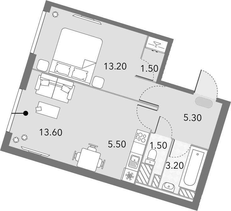 2Е-комнатная, 43.8 м²– 2