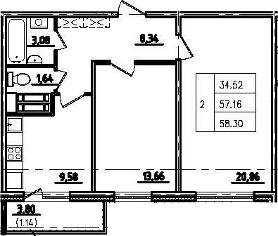 2-к.кв, 60.96 м²
