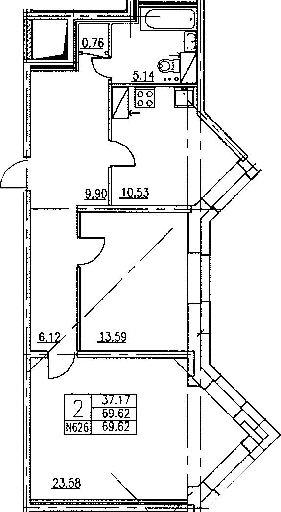 2-к.кв, 69.7 м²