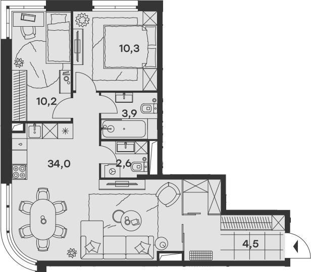 3Е-к.кв, 65.5 м², 12 этаж