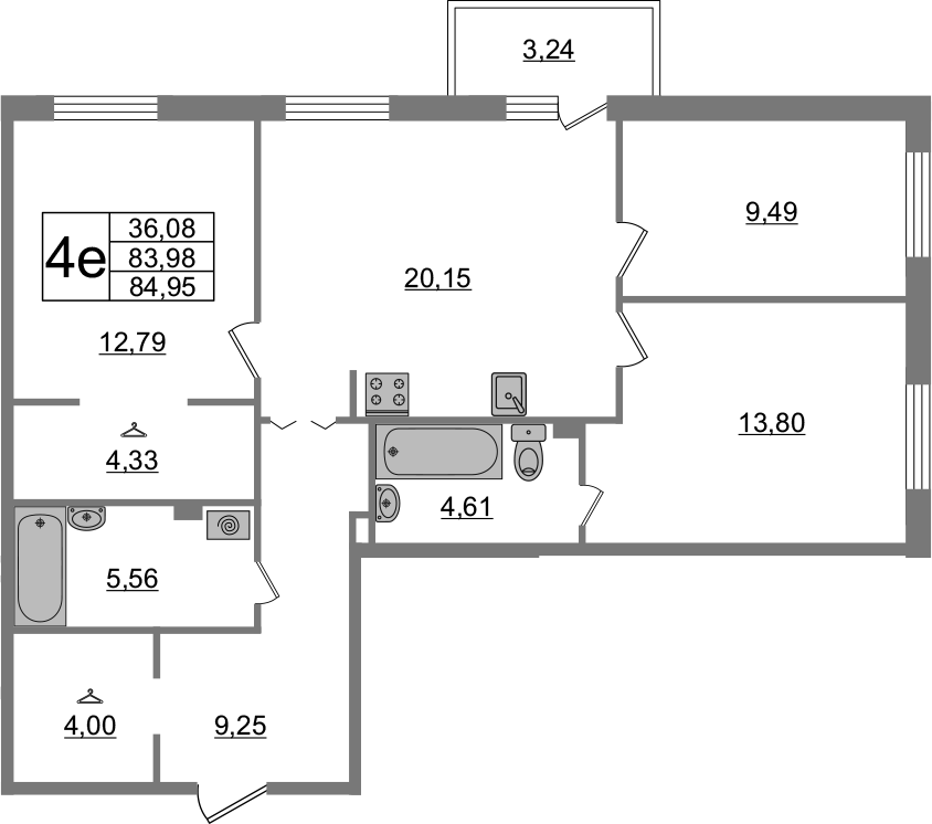 4-к.кв (евро), 87.22 м²