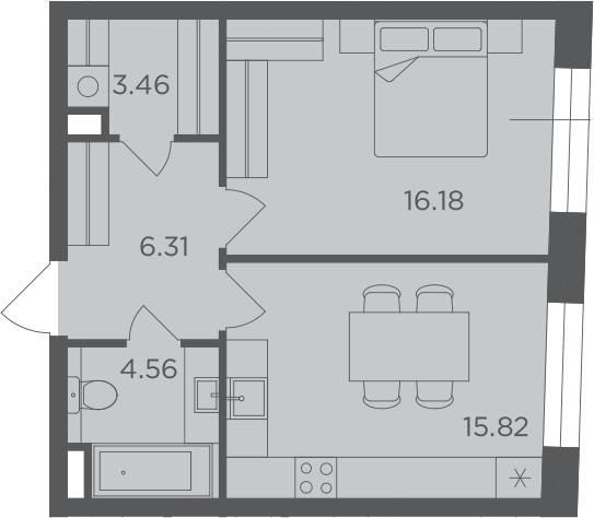 1-к.кв, 46.33 м²