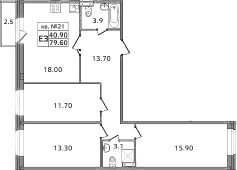 4-к.кв (евро), 82.1 м²