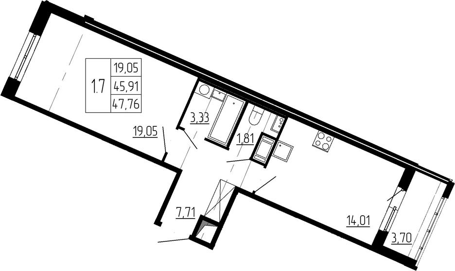 1-к.кв, 45.91 м², 6 этаж