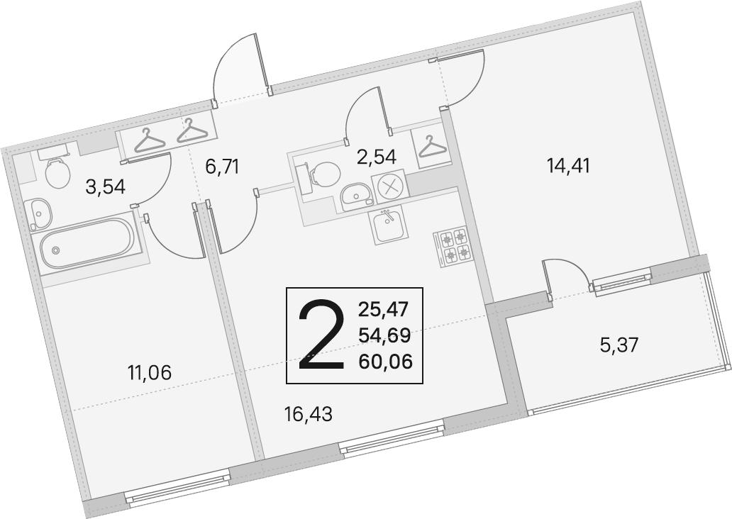 3Е-к.кв, 54.69 м²