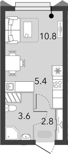 Студия, 22.6 м²