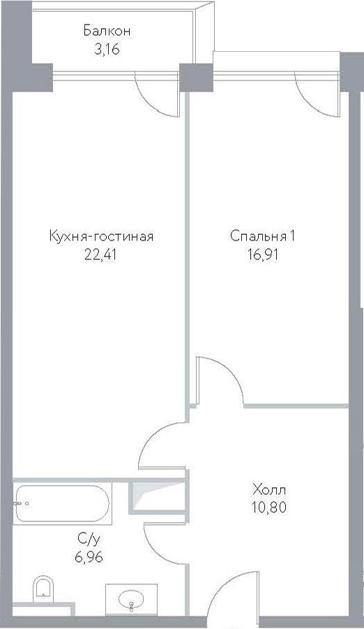 2Е-к.кв, 60.24 м², 13 этаж