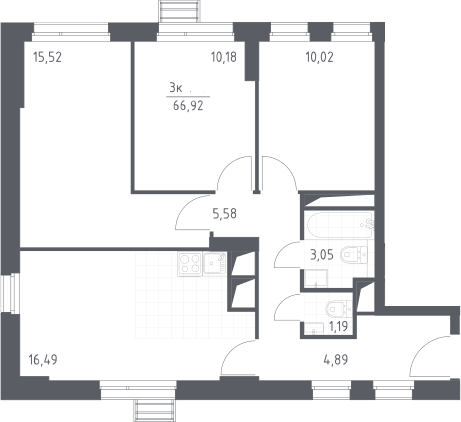4Е-к.кв, 66.92 м², 27 этаж