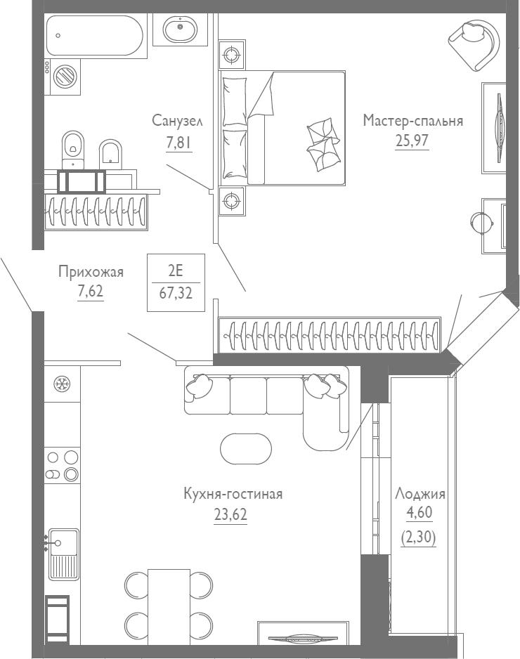 2Е-к.кв, 67.32 м², 2 этаж