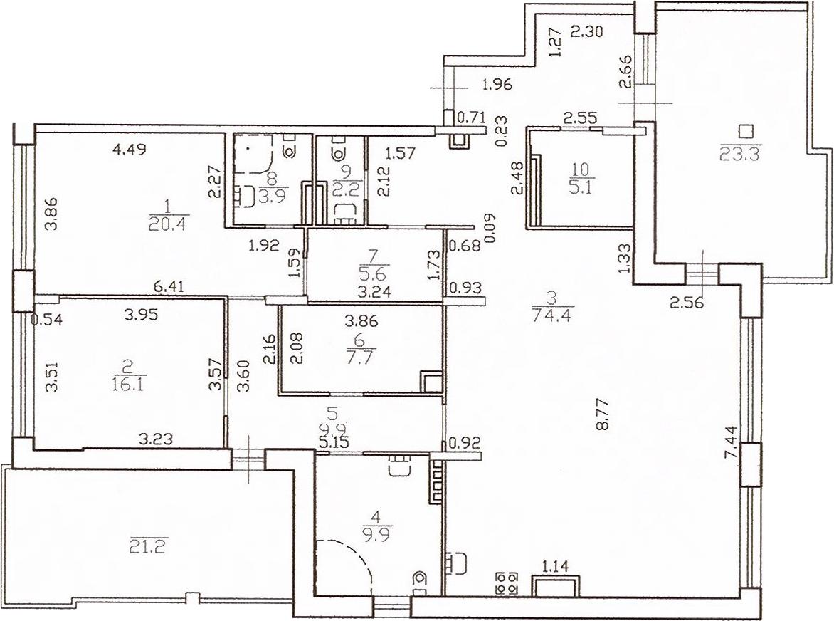 3-к.кв (евро), 199.75 м²