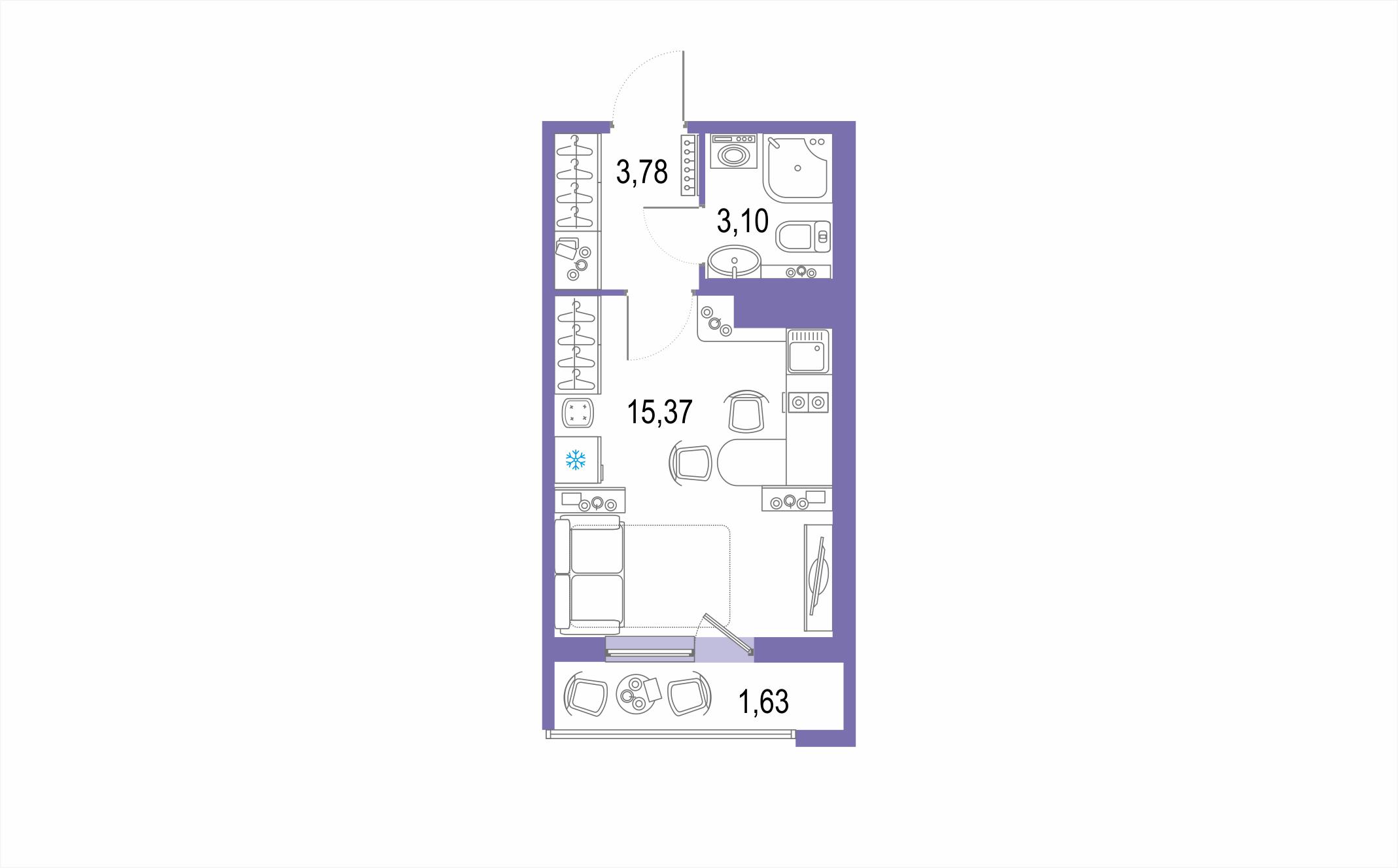 Студия, 23.88 м²