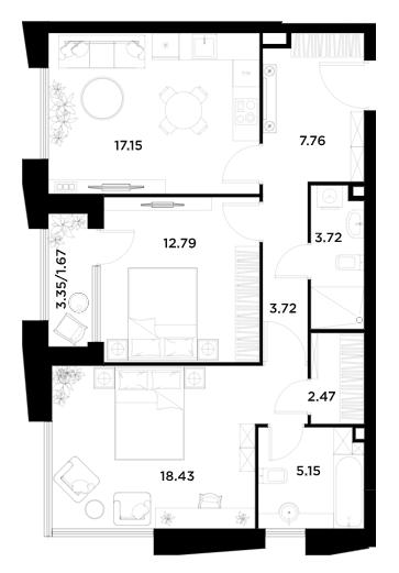 3Е-к.кв, 72.87 м²