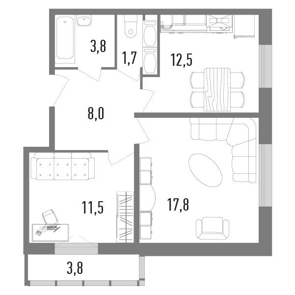 2-к.кв, 59.06 м²