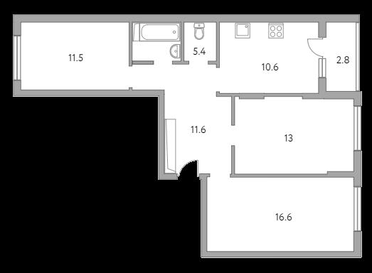 3-к.кв, 71.5 м²