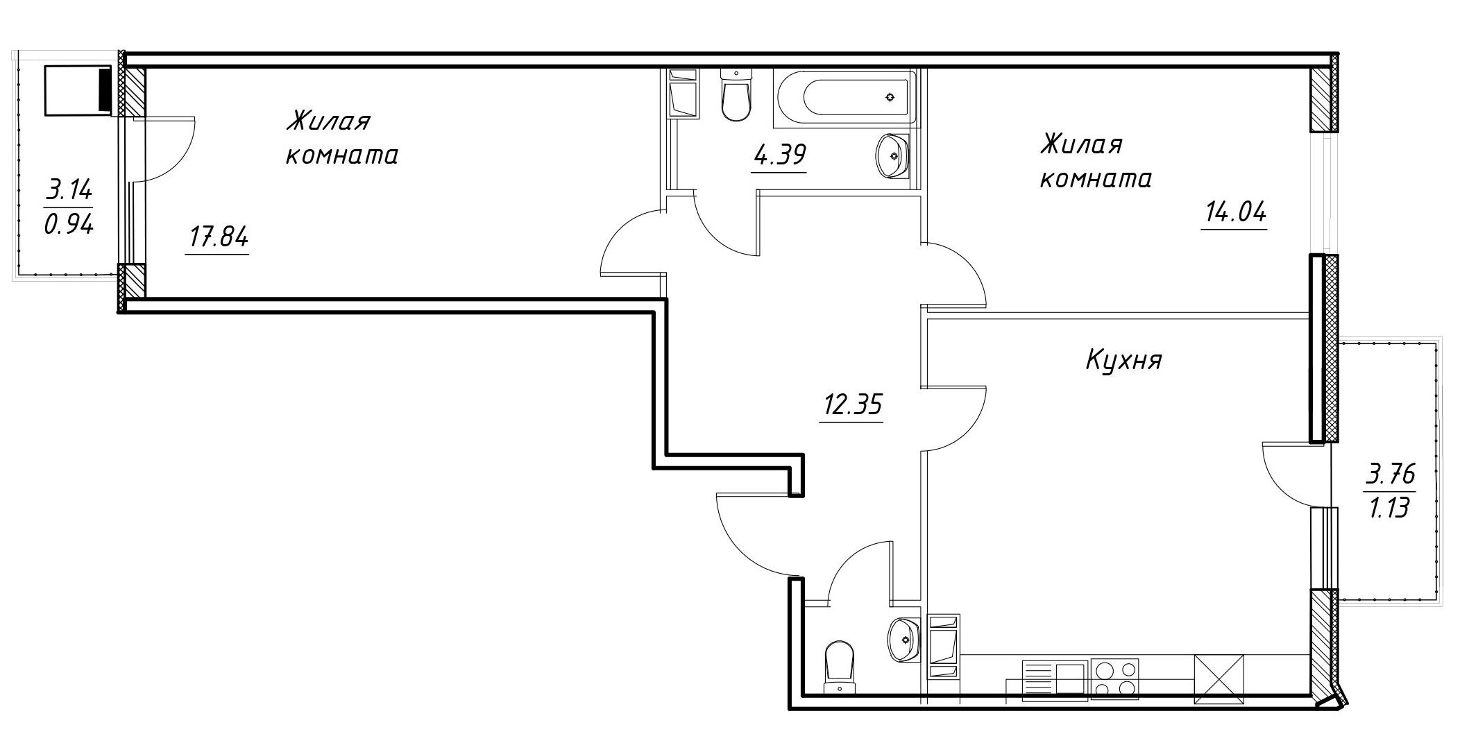 3-к.кв (евро), 78.23 м²