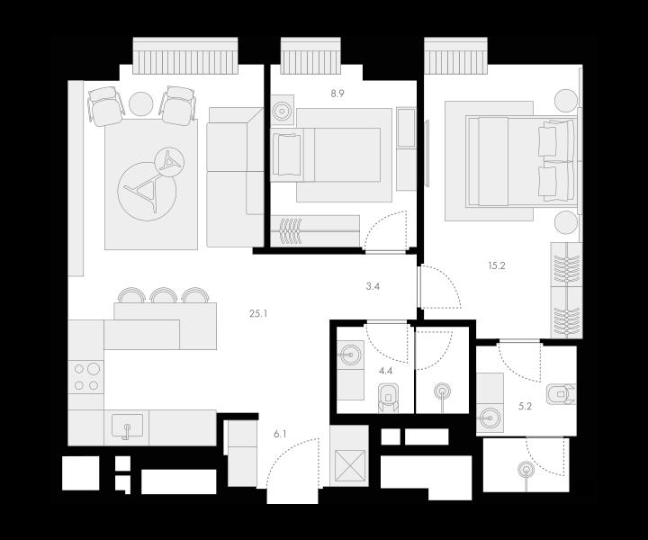 3Е-комнатная, 68.3 м²– 2
