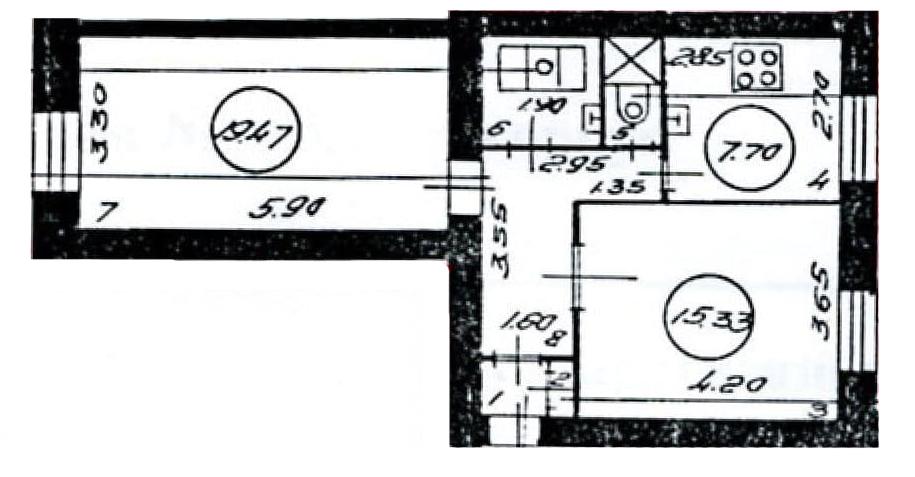 2-комнатная квартира, 54.52 м², 1 этаж – Планировка