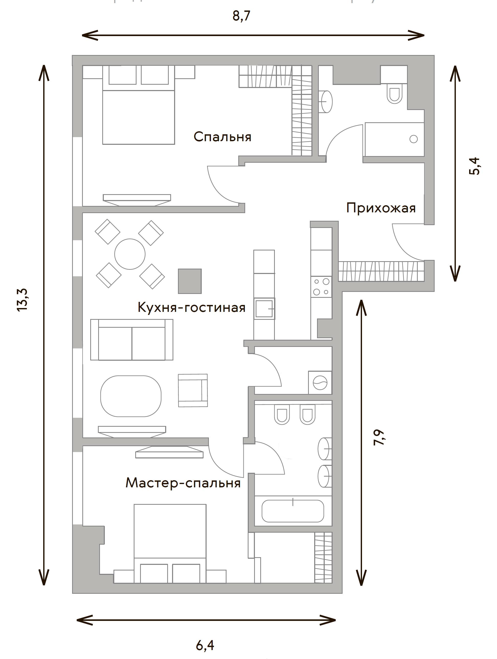 3Е-комнатная, 92 м²– 2