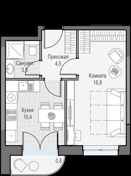 1-к.кв, 35.9 м², 15 этаж