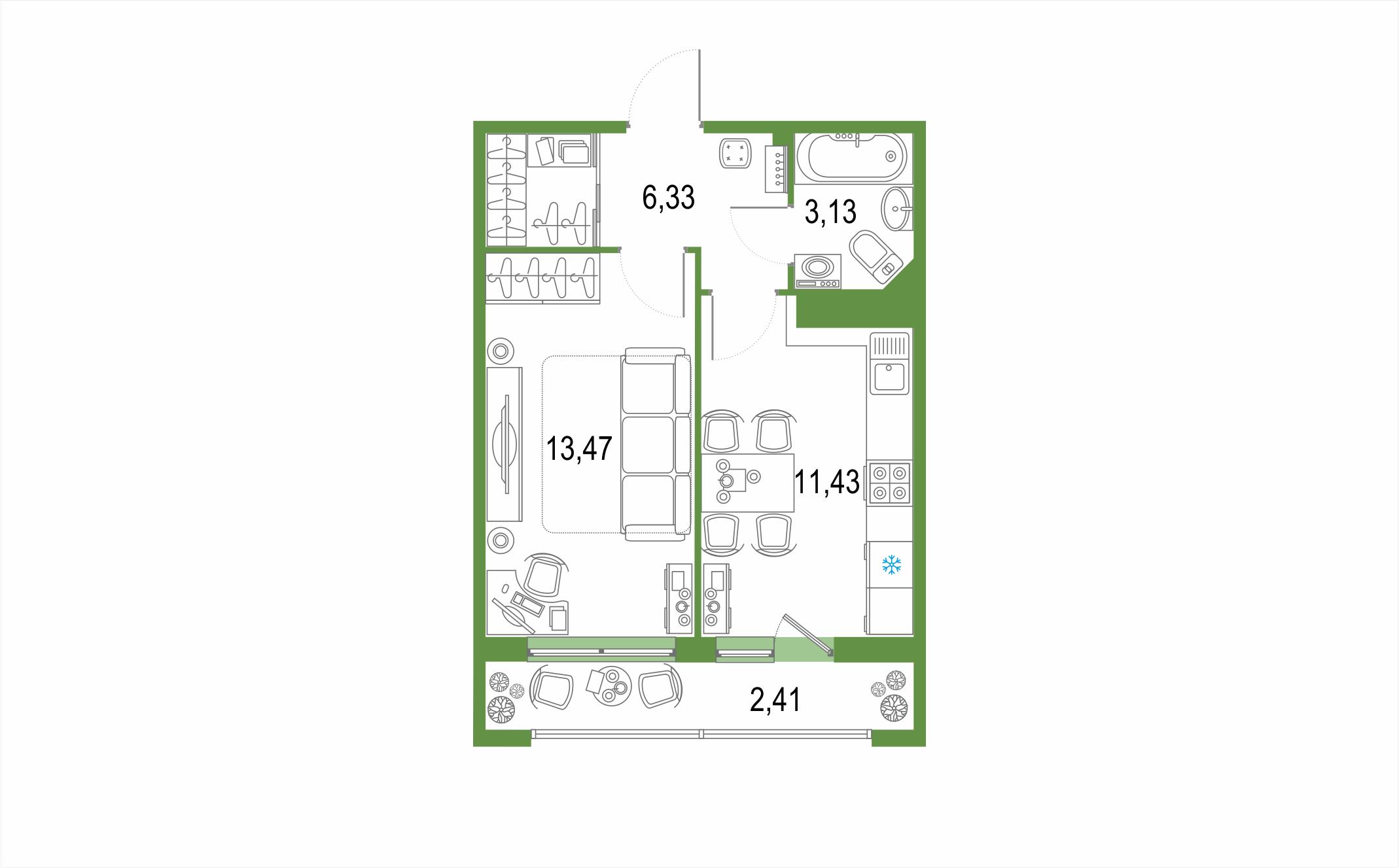 1-к.кв, 39.18 м²