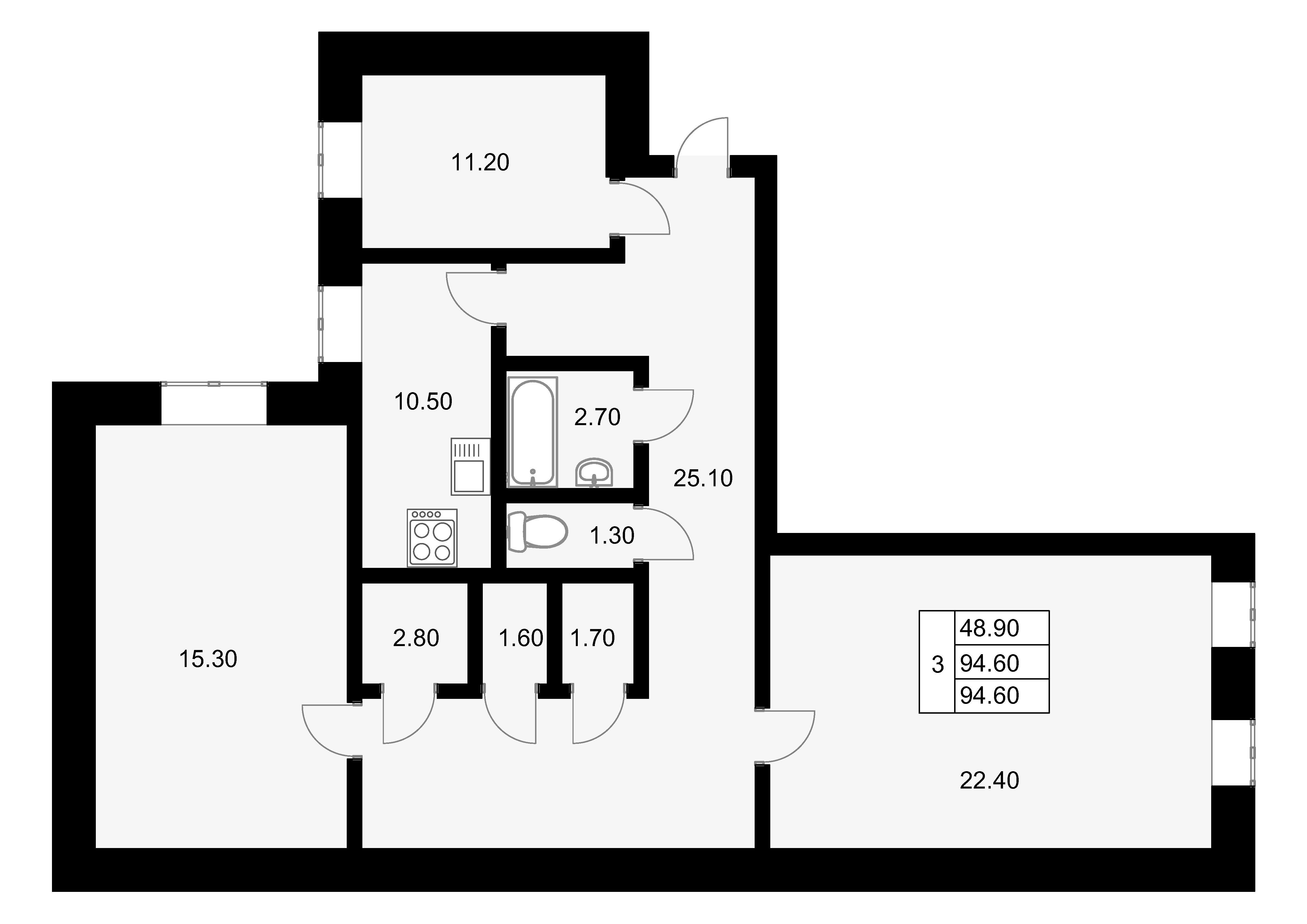 3-к.кв, 94.6 м²