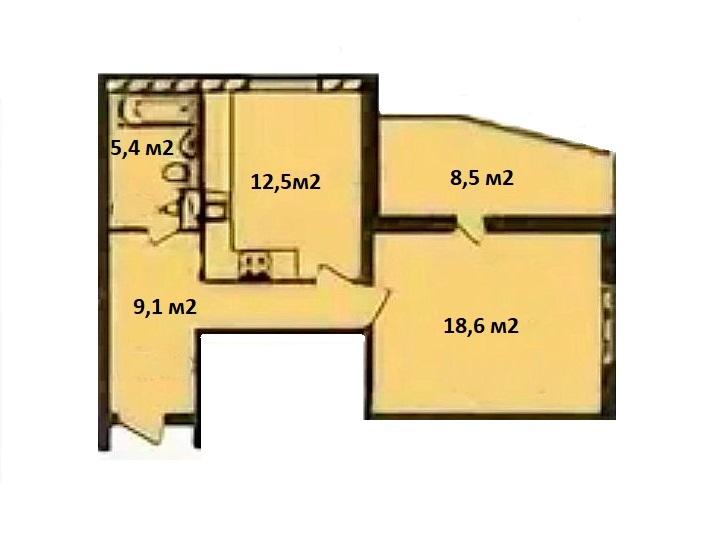 1-к.кв, 45.6 м²