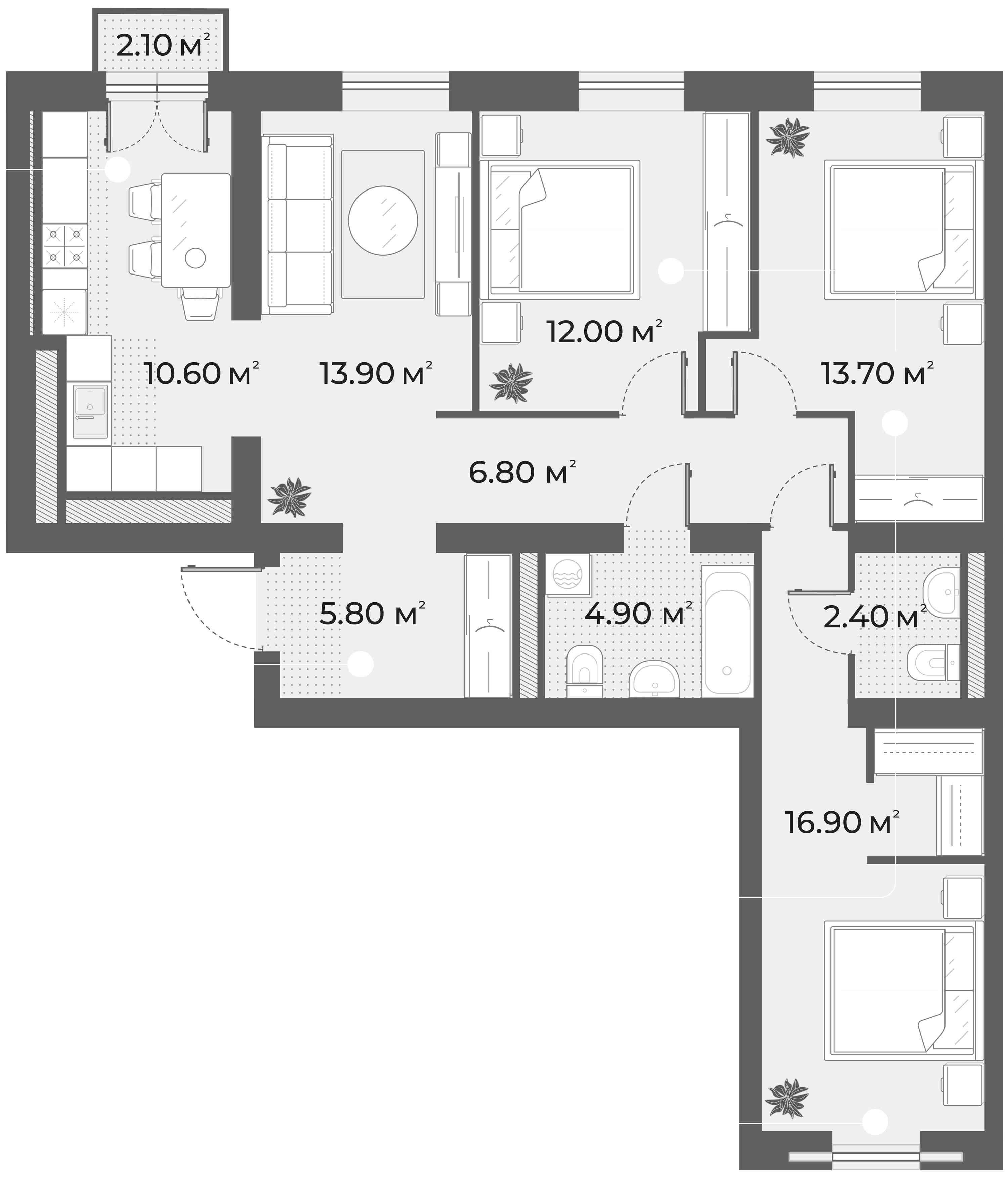 4-к.кв, 87 м², 3 этаж