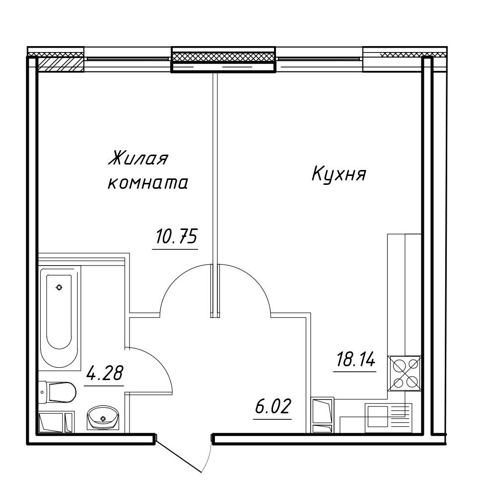 2-к.кв (евро), 39.19 м²