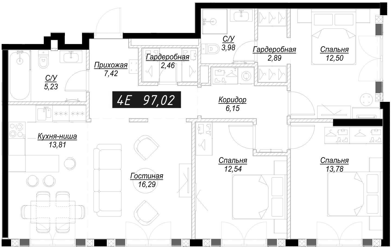 4Е-комнатная, 97.13 м²– 2