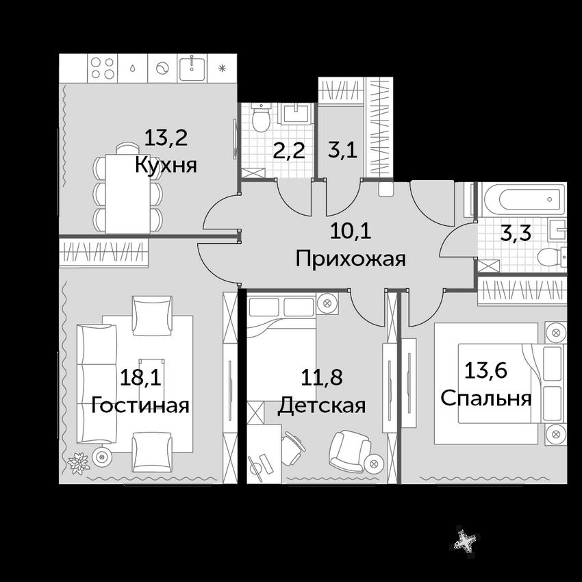 3-к.кв, 75.4 м², от 5 этажа