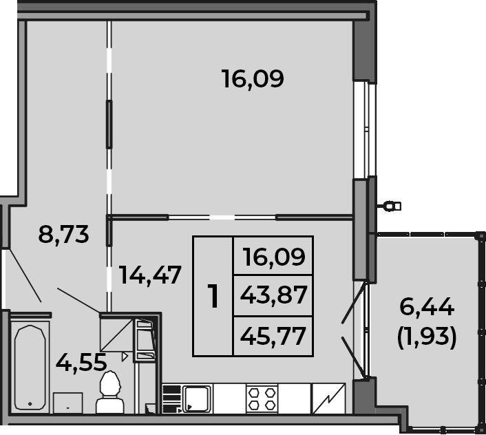 1-комнатная, 43.87 м²– 2