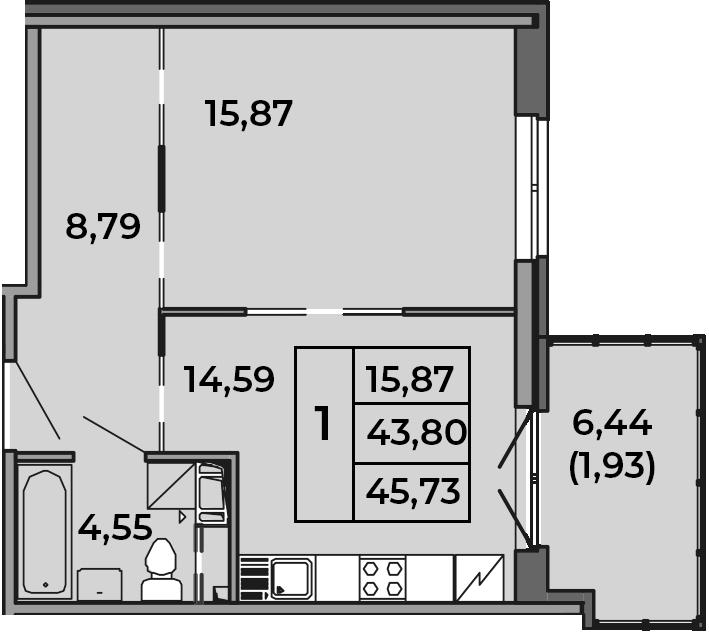 1-комнатная, 43.8 м²– 2
