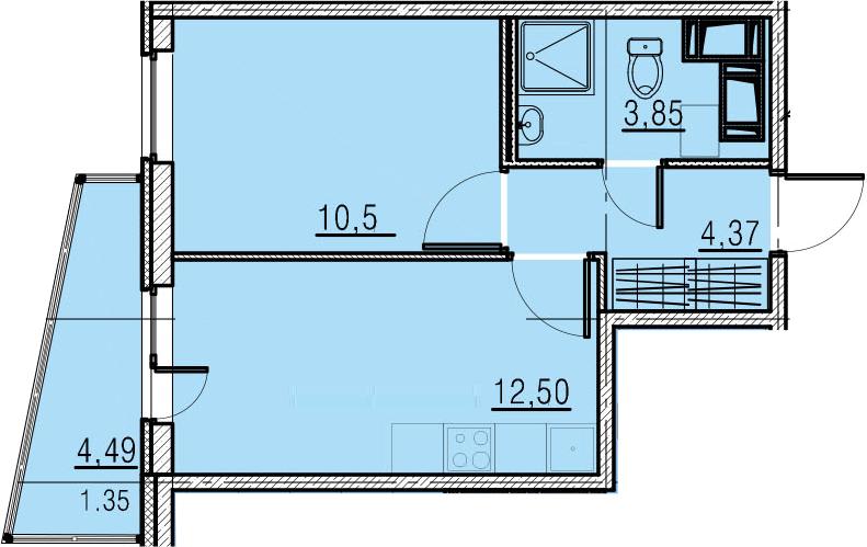 1-к.кв, 35.71 м²
