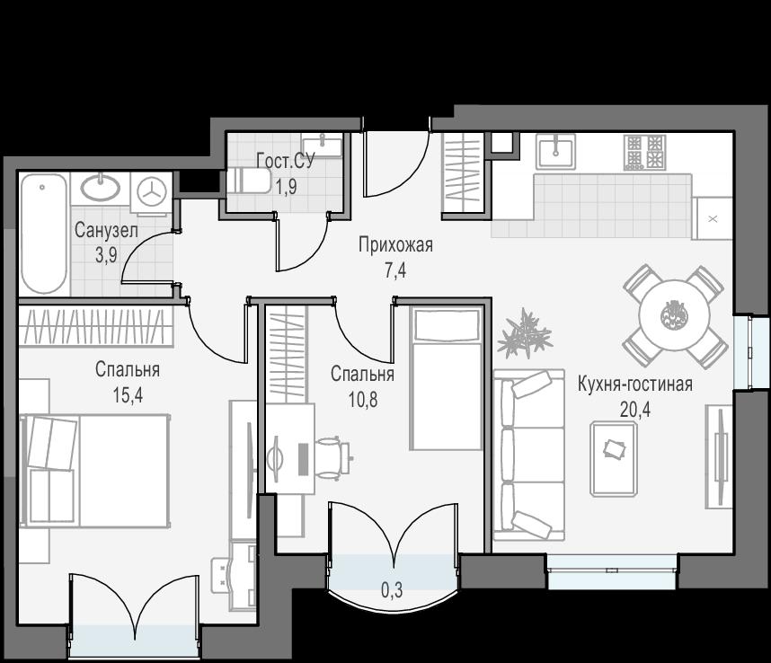 3Е-к.кв, 60 м², 16 этаж