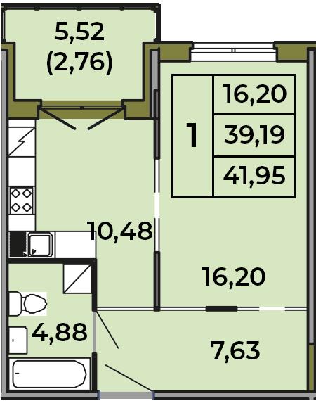 1-к.кв, 39.19 м², 1 этаж