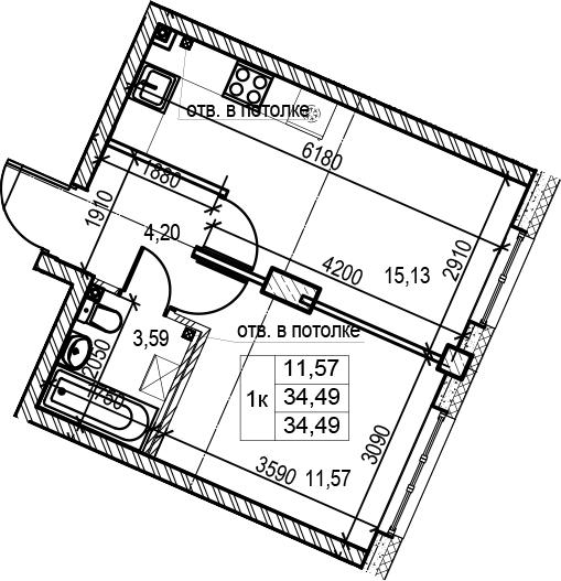 2Е-к.кв, 34.49 м²