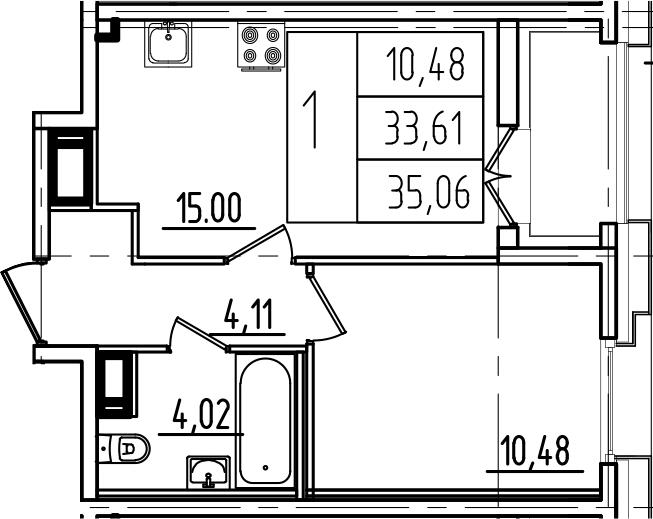 2Е-к.кв, 35.06 м²