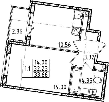 1-к.кв, 32.23 м²
